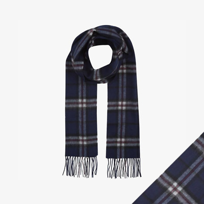 Barbour Cashmere Lambs Wool Tartan Check Luxury Scarf Navy Thompson - Brand New • 17.99£