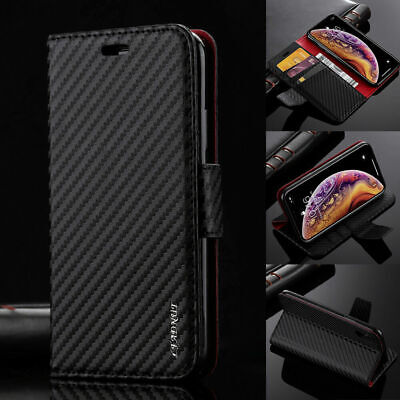 AU21.94 • Buy Luxury Carbon Flip Wallet Case Cover With Card Slots For IPhone And Samsung