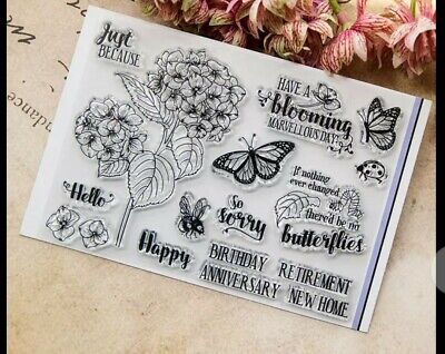 Happy Birthday Flowers Butterflies Clear Stamp For Card Making Junk Journal • 4.99£