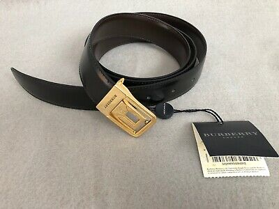 Burberry Mens Reversible Black Brown Leather Belt Gold Tone Buckle Size 42 /105 • 29.30£