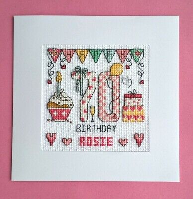 £9.99 • Buy Happy 70th Birthday Cross Stitch Card Kit