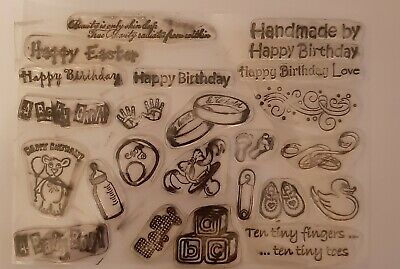 Set Of 24 Clear Stamps BABY BOTTLE Bootees DUCK ABC Blocks HANDS Feet BIRTHDAY • 1.95£