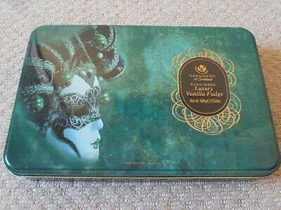 Gardiners Of Scotland Empty Fudge Tin 25cms : Lady In A Mask / Masked Ball Vgc • 2.99£