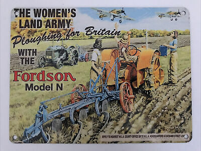 £6.49 • Buy The Women's Land Army Ploughing For Britain With Fordson - Metal Sign 20 X 15cm