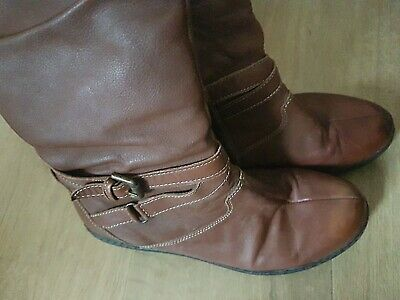 Pavers Knee Length Leather Boots Brown Size 5 Low Heal Walking  • 4.90£
