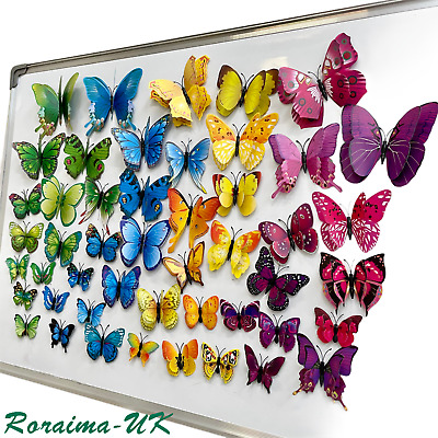 £2.99 • Buy Butterfly Magnet Wall 3D Art Stickers Home Décor Decals Room Decoration Fridge A