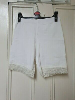 Peacocks White Pain Cycling Shorts With Lace Trim Size 8 • 1.30£