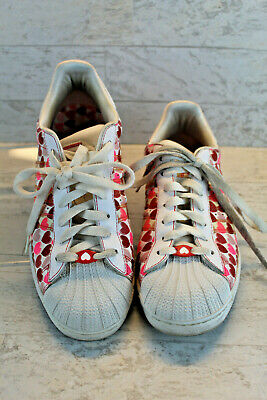 AU94.71 • Buy Adidas Women's Superstar Sneakers Skater Shoes 060158, Size 9, Red Pink Hearts