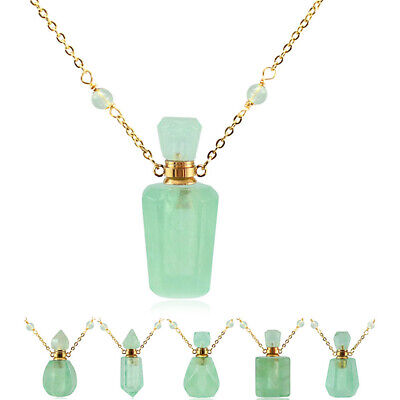 £10.45 • Buy Green Crystal Essential Oil Perfume Bottle Necklace Pendant Fragrance Jewelry