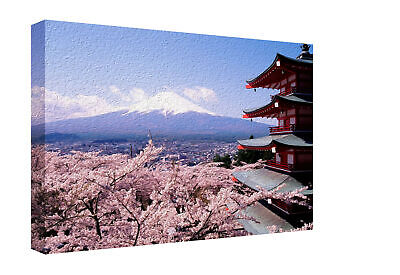 Japanese Cherry Blossom And Mountain Landscape Canvas Print Wall Art Picture • 22.50£