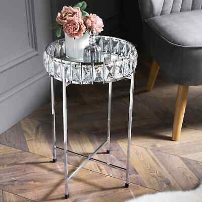 £43.50 • Buy Crystal Tray Table With Mirrored Top Silver Coffee Table With Removable Tray Top
