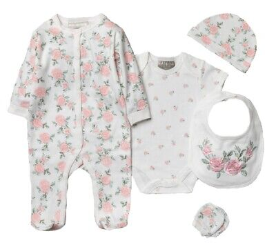 £14.45 • Buy Baby Girls Layette Clothing Gift Bag Set Pink Floral Rose Outfit Age 0 3 Months