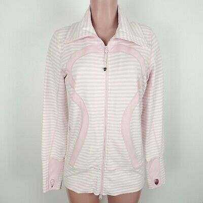 $ CDN78.84 • Buy Lululemon In Stride Jacket Pink White Striped Size 10 Big Logo Full Zip Up