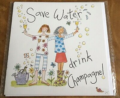 """£1.95 • Buy Humourous Greeting Card """"Save Water - Drink Champagne!"""" (New) Phoenix Trading"""