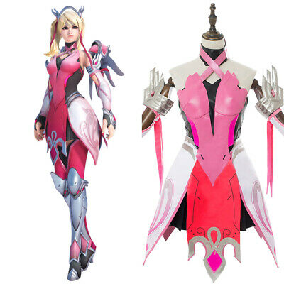AU144.18 • Buy Game OW Overwatch Mercy Angela Ziegler Outfit Pink Mercy Skin Cosplay Costume