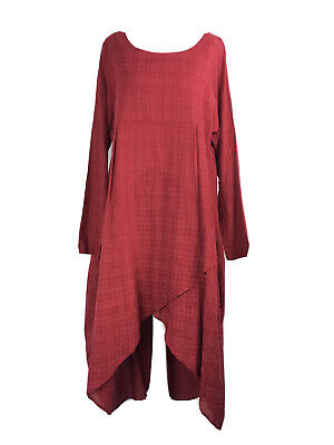 Red Check Pattern High Low Midi Dress Lagenlook Artist Smock Large 10/12 UK  • 28£