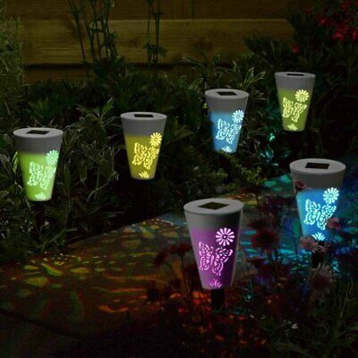 6x LED Solar Powered Butterfly Stake Lights Colour Changing Garden Path Border • 14.99£