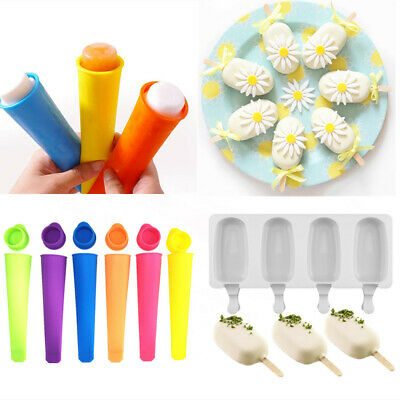 Silicone Ice Cream Mold Cake Ice Lolly Ice Pop Frozen Mould Tray Kitchen Tool UK • 0.99£