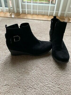 Womens Black Wedge Ankle Boots • 7.25£