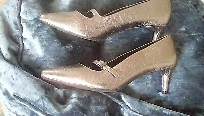 M&S Collection Size 4 Ladies Shoes Kitten Heels Pewter Wide Fit  • 7£