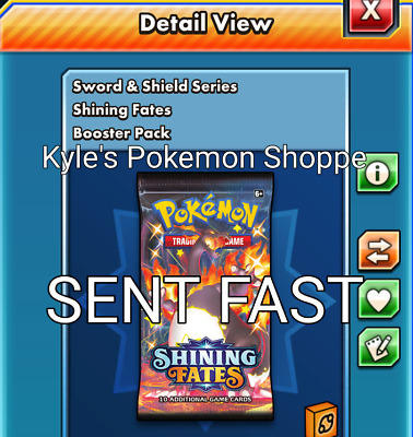 $8.99 • Buy 50 Shining Fates Codes Pokemon TCG Online Booster Pack SENT IN-GAME FAST