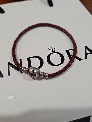 AU19 • Buy Beautiful Preowned Genuine Pandora Silver Woven Red Leather Bracelet 20cm