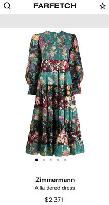 AU599 • Buy Zimmermann Allia Silk Tiered Floral Dress 0