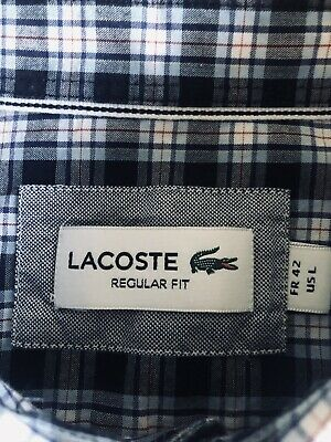 Mens Lacoste Dark Blue & White Short Sleeve Check Shirt In Size 42, Large • 5.70£