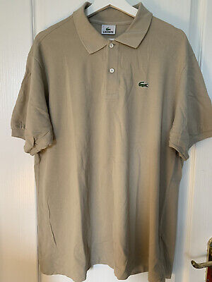 Mens Beige Lacoste Short Sleeved Polo Top Size 6 Large • 13£