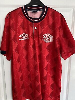 Umbro Red Pro Training Retro Football Top Large England Top • 2.60£