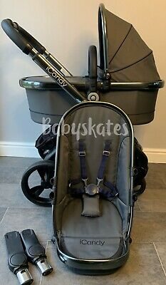 ICandy Peach 4 (2016) In Moonlight Pram Pushchair Travel System Unisex Grey • 575£
