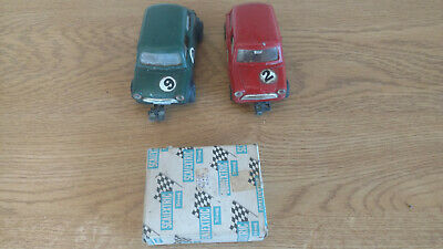 Vintage 1960's Scalextric Austin Mini Coopers X 2, Plus NEW Boxed Spare Motor • 40£