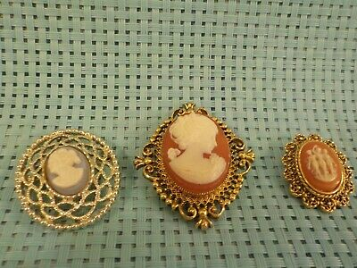 $ CDN8.82 • Buy Vintage Costume Jewelry Lot -Cameo Brooches/Pendants -  Pre-owned