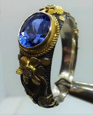 AU1500 • Buy Tanzanite Diamond Ring Sterling Silver +18K Solid Yellow Gold Theme