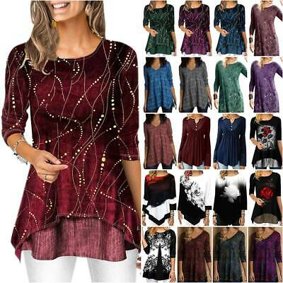 AU21.08 • Buy Women Floral Long Sleeve T-Shirt Tunic Top Holiday Casual Party Blouse Plus Size