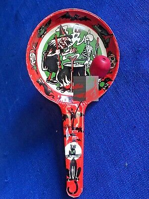 $ CDN50.63 • Buy Vintage Halloween Noisemaker US Metal Toy Clanger Red Clapper Ghost Skeleton