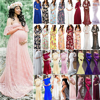 AU39.69 • Buy Maternity Women's Lace Photography Pregnant Maxi Dress Boho Gown Party Dreses
