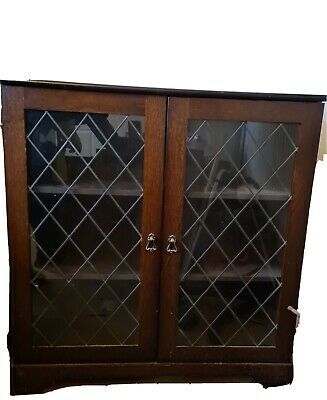Dark Wood Display Cabinet And TV Unit With Glass Doors. • 8.70£