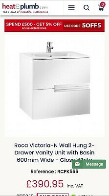 £120 • Buy Roca Victoria Wall Hung 2 Drawer Vanity Unit With Basin 600mm