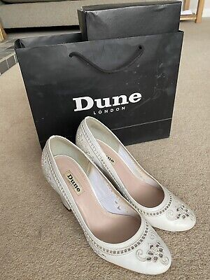 DUNE Court Shoe Heels Bethany Bethane White Embroidered Floral Lace Size 5 • 8.30£