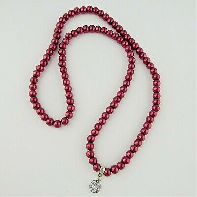 Red Faux Pearl Bead Elasticated Necklace Round Cubic Zirconia Charm Handmade • 3.50£