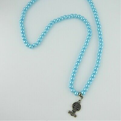 Blue Faux Pearl Round Bead Elasticated Necklace Baby Boy Charm Handmade Gift • 3.50£