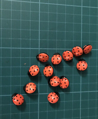 13  HARD PLASTIC LADYBIRD  BUTTONS,  Sewing Knitting Or Crafts • 2.99£