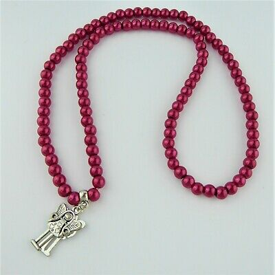 Red Faux Pearl Bead Elasticated Necklace Fairy Charm Pendant Handmade Gift • 3.50£