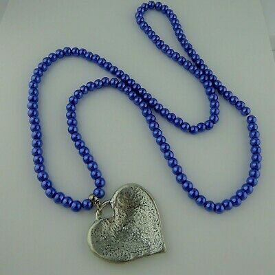 Blue Faux Pearl Round Bead Elasticated Necklace Big Heart Charm Handmade Gift • 4.95£