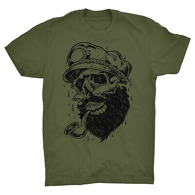 Sailor Skull T Shirt Captain Tattoo Beard Barber Sea Boat Ship Sailing Anchor • 9.99£