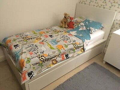 IKEA MALM White Standard Single Bed Frame With 2 Drawers And Lönset Slats • 90£