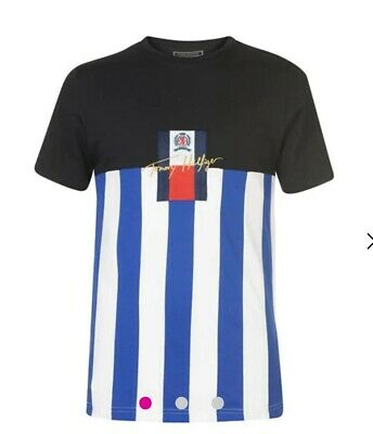 Rrp £110 Tommy  Hilfiger Stripe Logo Tshirt Blue/white Size Small • 39.99£