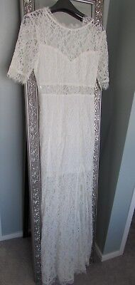 AU119 • Buy New Lily Whyt Ladies Lace Maxi Dress Boho Wedding Dress Size 8 Soft White
