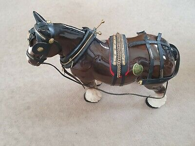 Large Pottery Shire  Cart Horse With Harness Melba Ware • 9£